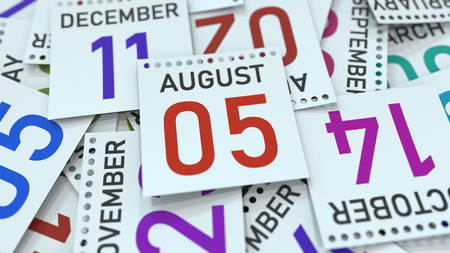 August 5 date on emphasized calendar page, 3D rendering