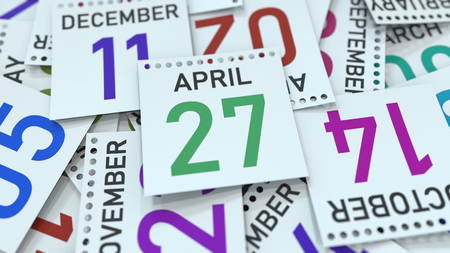 April 27 date on emphasized calendar page, 3D rendering