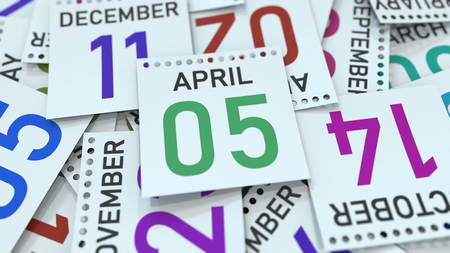 April 5 date on emphasized calendar page, 3D rendering