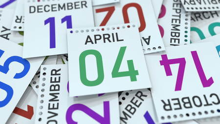 April 4 date on emphasized calendar page, 3D rendering