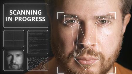 Système de sécurité électronique scannant le visage de l'homme