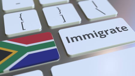 IMMIGRATE text and flag of South Africa on the buttons on the computer keyboard. Conceptual 3D rendering