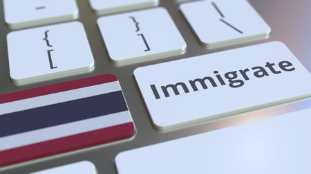 IMMIGRATE text and flag of Thailand on the buttons on the computer keyboard. Conceptual 3D rendering