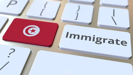 IMMIGRATE text and flag of Tunisia on the buttons on the computer keyboard. Conceptual 3D rendering Banco de Imagens