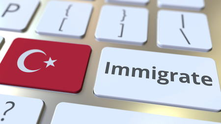 IMMIGRATE text and flag of Turkey on the buttons on the computer keyboard. Conceptual 3D rendering