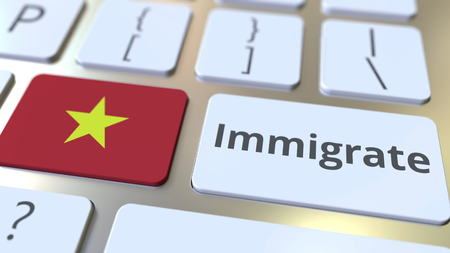 IMMIGRATE text and flag of Vietnam on the buttons on the computer keyboard. Conceptual 3D rendering