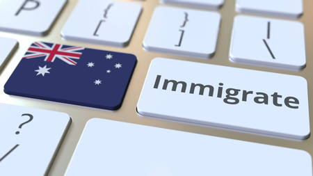 IMMIGRATE text and flag of Australia on the buttons on the computer keyboard. Conceptual 3D rendering Stockfoto
