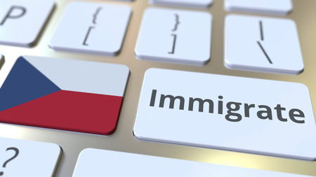 IMMIGRATE text and flag of the Czech Republic on the buttons on the computer keyboard. Conceptual 3D rendering