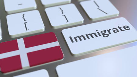 IMMIGRATE text and flag of Denmark on the buttons on the computer keyboard. Conceptual 3D rendering Imagens