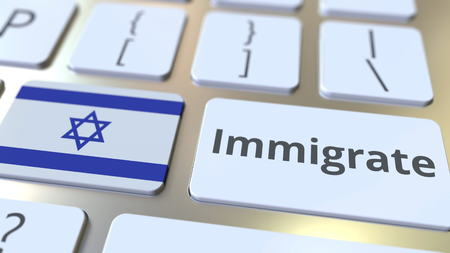 IMMIGRATE text and flag of Israel on the buttons on the computer keyboard. Conceptual 3D rendering