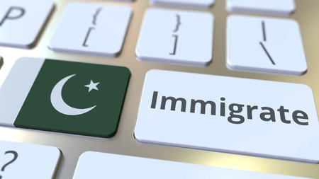 IMMIGRATE text and flag of Pakistan on the buttons on the computer keyboard. Conceptual 3D rendering Banco de Imagens