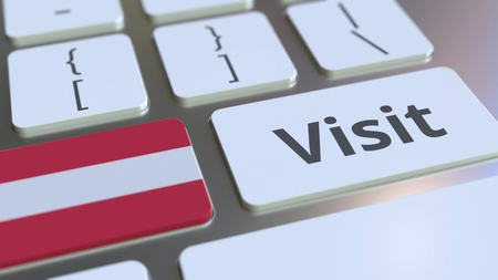 VISIT text and flag of Austria on the buttons on the computer keyboard. Conceptual 3D rendering