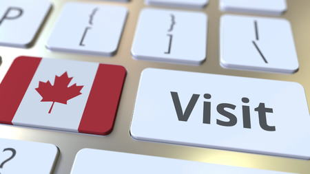 VISIT text and flag of Canada on the buttons on the computer keyboard. Conceptual 3D rendering