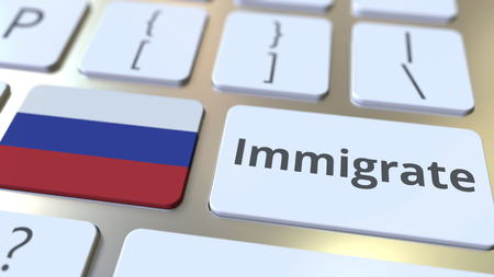 IMMIGRATE text and flag of Russia on the buttons on the computer keyboard. Conceptual 3D rendering Banco de Imagens