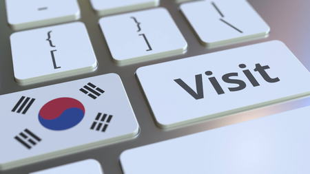 VISIT text and flag of South Korea on the buttons on the computer keyboard. Conceptual 3D rendering