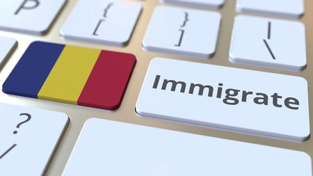 IMMIGRATE text and flag of Romania on the buttons on the computer keyboard. Conceptual 3D rendering Banco de Imagens