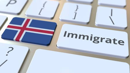 IMMIGRATE text and flag of Iceland on the buttons on the computer keyboard. Conceptual 3D rendering Archivio Fotografico