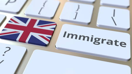 IMMIGRATE text and flag of Great Britain on the buttons on the computer keyboard. Conceptual 3D rendering