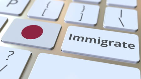 IMMIGRATE text and flag of Japan on the buttons on the computer keyboard. Conceptual 3D rendering Banco de Imagens