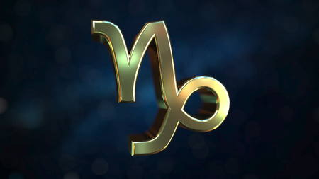 Gold Capricorn Zodiac sign, 3D rendering 免版税图像