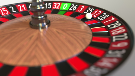 Casino roulette wheel ball hits 12 twelve red. 3D rendering