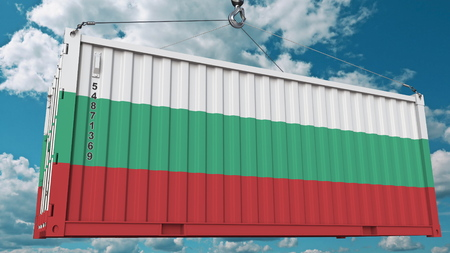 Container with flag of Bulgaria. Bulgarian import or export related conceptual 3D rendering Фото со стока