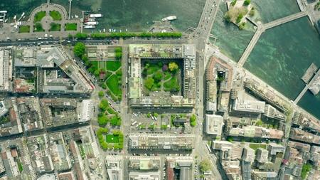 Vue aérienne de haut en bas de Genève, Suisse