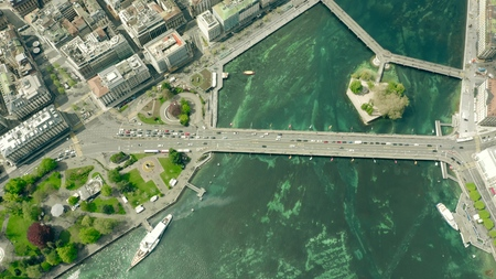 Aerial top down view of famous Mont Blanc Bridge in Geneva, Switzerland