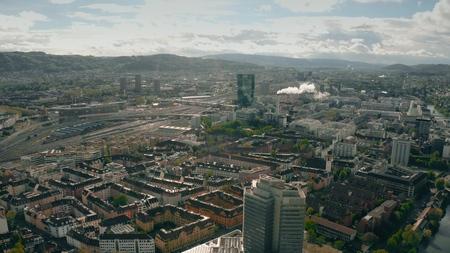 Aerial shot of Industriequartier district in Zurich, Switzerland