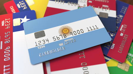 Many credit cards with different flags, emphasized bank card with flag of Argentina. 3D rendering Stock fotó