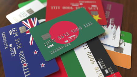 Many credit cards with different flags, emphasized bank card with flag of Bangladesh. 3D rendering