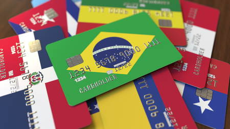 Many credit cards with different flags, emphasized bank card with flag of Brazil. 3D rendering Stock fotó