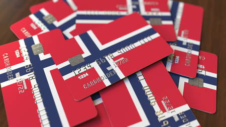 Credit cards with flag. National banking system conceptual 3D