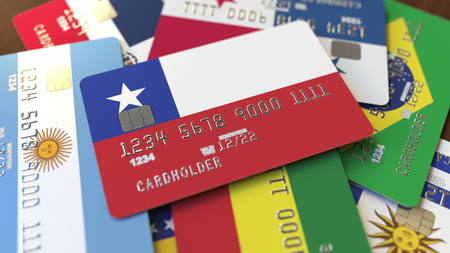 Many credit cards with different flags, emphasized bank card with flag of Chile. 3D rendering