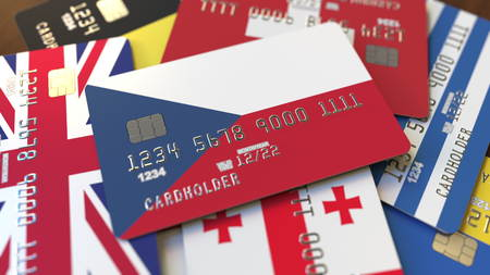 Many credit cards with different flags, emphasized bank card with flag of the Czech Republic. 3D rendering