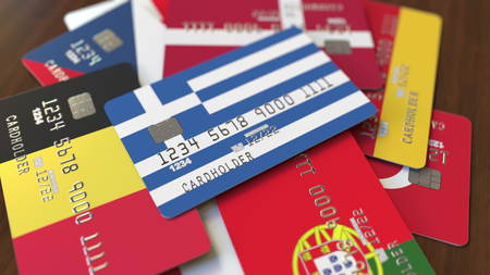 Many credit cards with different flags, emphasized bank card with flag of Greece. 3D rendering