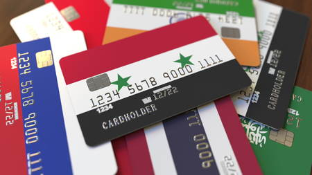 Many credit cards with different flags, emphasized bank card with flag of Syria. 3D rendering