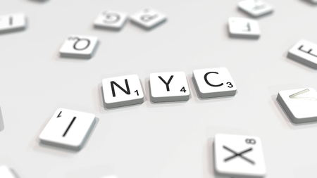 New York NYC city name being made with scrabble letters. Editorial 3D rendering 報道画像