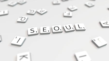 Composing SEOUL city name with scrabble letters. Editorial 3D rendering