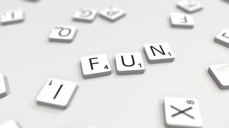 Composing FUN word with scrabble letters. Editorial 3D rendering Editorial