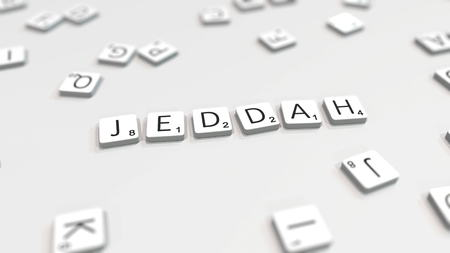 Making JEDDAH city name with scrabble letter tiles. Editorial 3D rendering