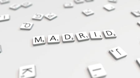 MADRID city name being composed with scrabble letters. Editorial 3D rendering 報道画像