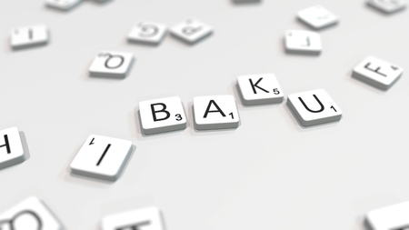 BAKU city name being made with scrabble letters. Editorial 3D rendering 報道画像