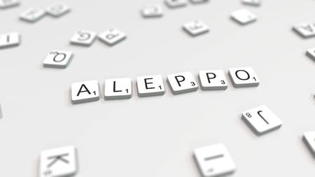 Composing ALEPPO city name with scrabble letters. Editorial 3D rendering