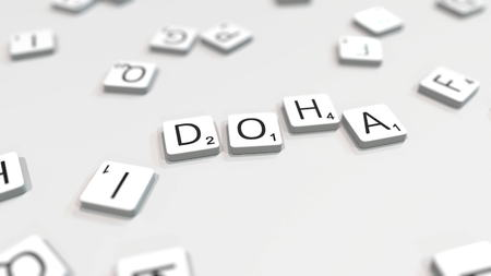 Making DOHA city name with scrabble letter tiles. Editorial 3D rendering 에디토리얼