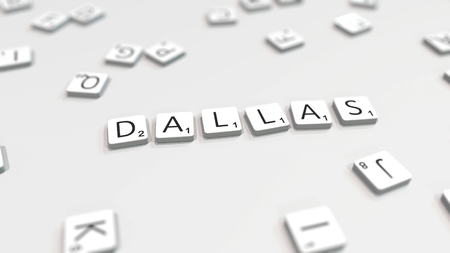 DALLAS city name being made with scrabble letters. Editorial 3D rendering