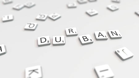 DURBAN city name being composed with scrabble letters. Editorial 3D rendering