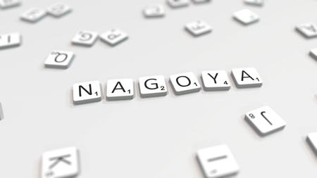 NAGOYA city name being composed with scrabble letters. Editorial 3D rendering 報道画像