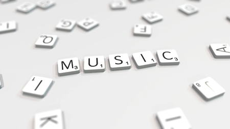 Composing MUSIC word with scrabble letters. Editorial 3D rendering Editöryel