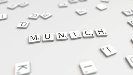 Making MUNICH city name with scrabble letter tiles. Editorial 3D rendering